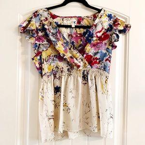 Anthropologie watercolour silk blouse edme 8